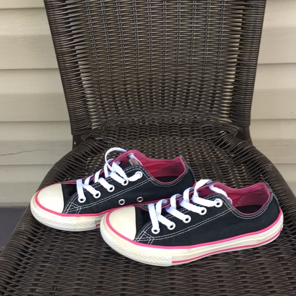 cd919ab47547 Converse Other - Converse girls black with pink trim sneakers